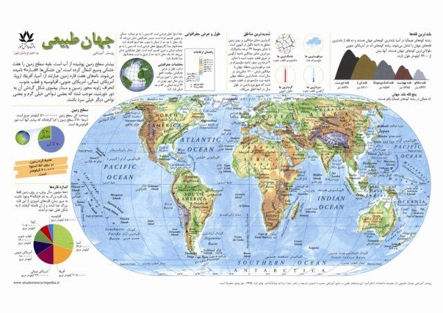 نقشه طبیعی جهان برای کودکان و مدارس